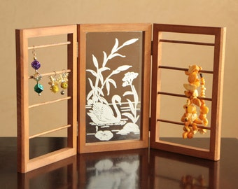 Vintage mirrored jewelry organizer / wooden jewelry folding display