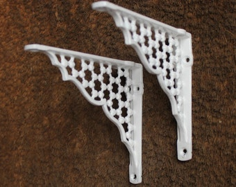 Pair of Small Cast Metal Shelf Brackets, Country Home, Set of 2, Bathroom Fixture, 6 Inch x 5 Inch Size, White Vintage Ornate ~ BR05w(x2)