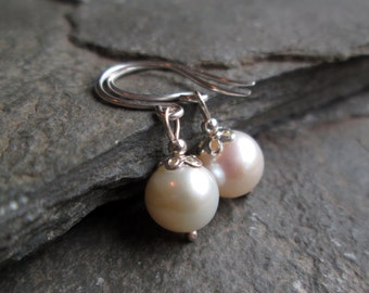 Pearl Earrings - Drop Earrings, Pearl Jewellery, Gift Jewellery, Gifts for Her, Birthday Gift, Christmas Gift, Silver Jewellery, Ivory
