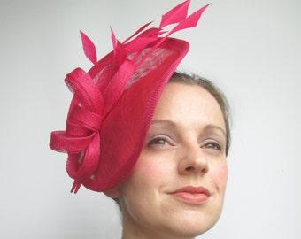 Pink Fascinator Hat - Hot Pink Fascinator, Womens Hat, Wedding Hats and Fascinators, Ladies Hat, Tea Party, Saucer Hat, Races Hat, Millinery