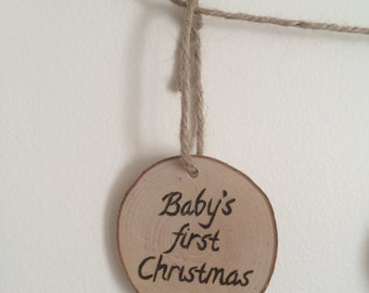 Baby's First Christmas Ornament wood burned