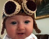 Baby Steampunk Hat, Crochet Pilot Hat with Goggles, Earflaps for Newborns, Infants, Toddlers, Halloween Costume, Steampunk Cosplay