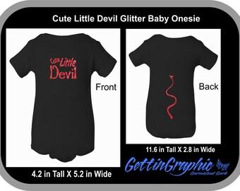 Cute Little Devil Glitter Baby bodysuit. Baby, little devil baby, baby Halloween, Halloween costume, baby Halloween costume, new baby.