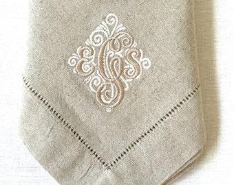 Monogram Embroidered Napkins Elegant Simplicity.  Personalized dinner napkins.  Cloth napkins.