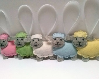 Felt Sheep ornament, wool felt Lamb ornament, pastel Easter decor, yellow blue white pink sheep, pastel decoration Easter lamb, choose 1 egg