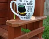 Halloween Coffee Mug, Funny Coffee Mug, Witch Coffee Mug, Large Coffee Mug, Hand Painted Coffee Mug
