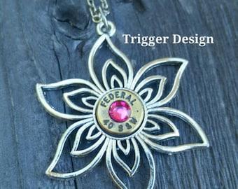 40 Caliber Bullet Necklace on Flower Charm - Light Pink