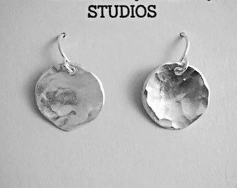SALE! Silver Disc Earrings, Hammered Silver Earrings, Small Silver Earrings