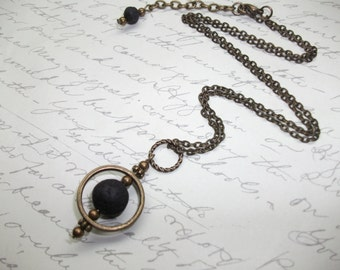 Antique brass / bronze lava stone necklace