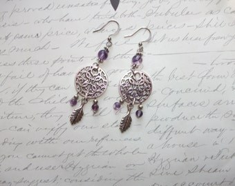 Dreamcatcher earrings with fluorite gemstones