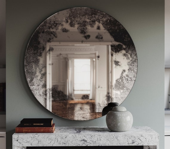 29 Antique Mirror With Cloudy Pattern Custom Hand Made