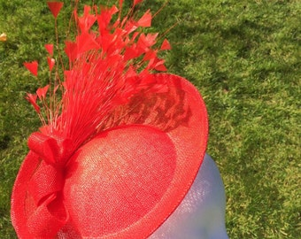 Red Saucer Fascinator Red Hatinator