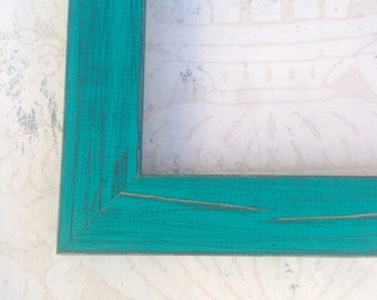 Rustic Turquoise Green Picture Frame - 4x4, 4x6, 5x5, 5x7, 8x8, 8x10, 8.5x11, 11x14, 16x20, 18x24, 24x30 Beach Cottage Picture Frames