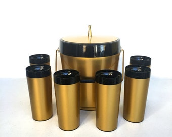 Vintage Ice Bucket and Tumblers, Thermoserve by West Bens, Gold and Black