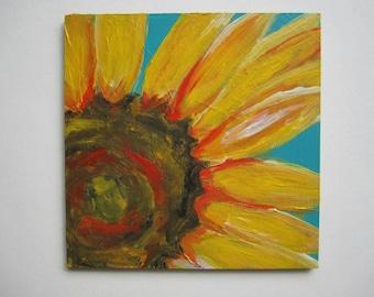 "Small Sunflower Painting, 4x4"" Acrylic Sunflower Painting, Sunflower Acrylic Painting"