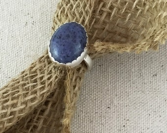Blue Denim Lapis Cabochon Ring in Sterling Silver