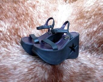 90s GOTH Platform Sandals Star-Cut-Out EU39 US 8.5