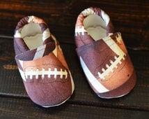 football baby shoes, wee little piggies, baby shower gift, baby booties, moccs, crib shoes, fabric baby shoes, baby boy shoes, baby boy