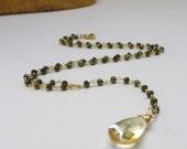 Gemstone Necklace // Spinel Necklace // Citrine Necklace // 14k gold-filled Spinel and Citrine Necklace