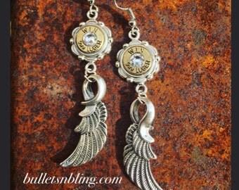 Silver Feather Bullet Casing Earrings