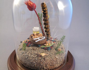 Caterpillar Having a Beer and Nuts, Miniature Insect Diorama