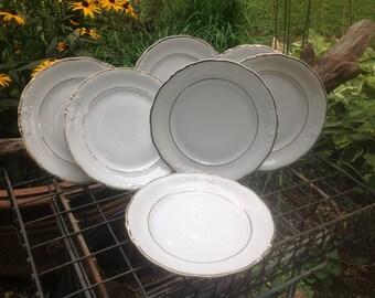 Vintage gold rimmed Cake or Luncheon plates - Royal Kent Poland - set of 7