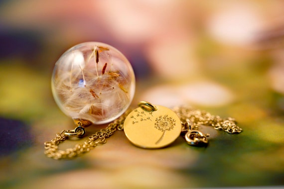 Dandelion necklace - 18k gold filled - real flowers - make a wish - glass orb - dandelion seeds - bridesmaid gift - wedding - high quality