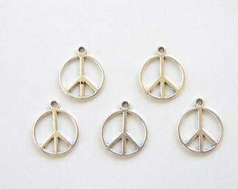 5 pc. Silver Peace Sign Charms, Charms and Supplies, Tibetan Silver Charms, Jewelry Making Supply Charms, Hippie Charms.