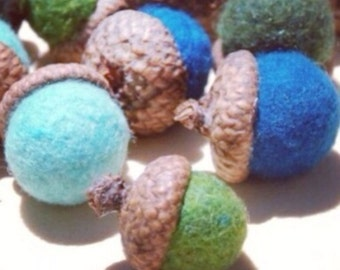 Felted wool acorns, set of four