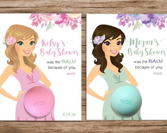 EOS Baby Shower Favors: Lilac, Mint, Watercolor Flowers - PRINTABLE