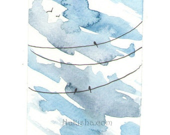 Mini Watercolor Painting - ACEO - High Clouds