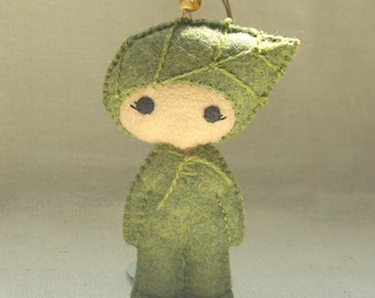 Felt Leaf Doll Ornament, Embroidered Wool Felt Art Doll, Nature Inspired Handmade Ornament *Ready to Ship