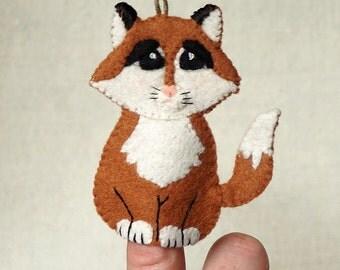 Felt Fox Finger Puppet, Wool Felt Fox Ornament, Felt Handmade Collectible Finger Puppet, Christmas Ornament *Ready to Ship