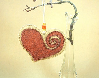 Beaded Copper & Gold Wool Felt Heart Ornament #4, Mother's Day Heart, Wedding Favor, Proposal Idea, Anniversary Gift *Ready to ship