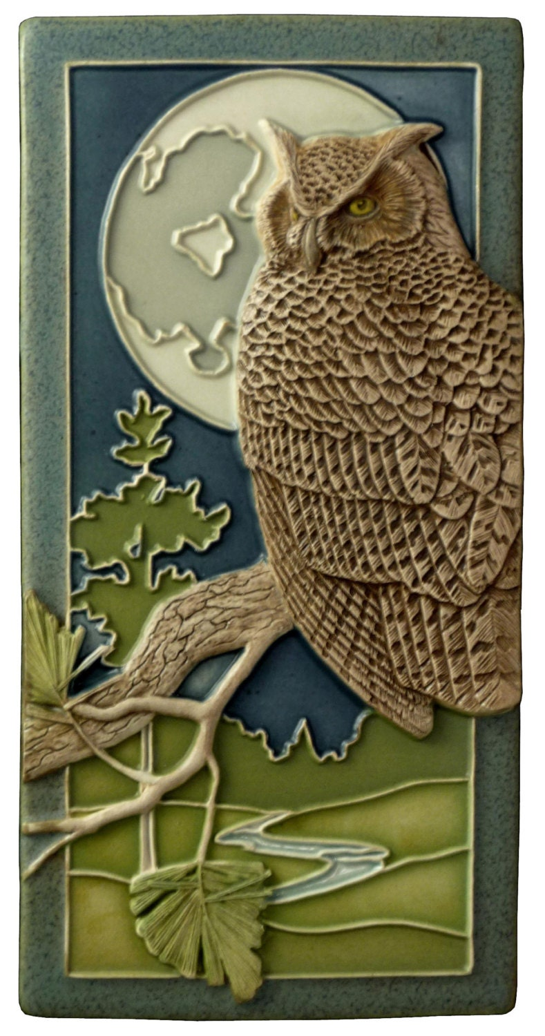 Home Decor Night Owl Sculpted Great Horned Owl 4x8 Inches