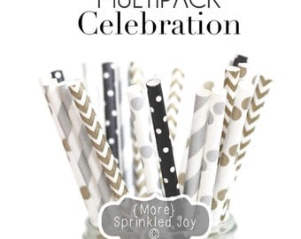 Black, Silver, Gold, Paper Straws, New Years Eve, Christmas, Winter, Wedding, Silver, Celebration, Chevron, Dots, Party, Vintage, 25 Straws
