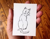 ACEO Original Art Card, Pen and Ink Drawing of an Aloof Cat, Black and White Cartoon Illustration by Laurie A. Conley