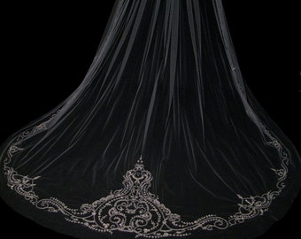Couture wedding veil embroidery and beading - Sophia