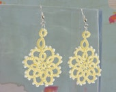 Lace Flower Earrings in Light Yellow with White Glass Bead Detail and Silver Plated Earwires