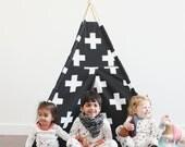 SWISS CROSS Fabric, Monochrome, Canvas, Teepee, Play Tent, Play House, Nursery, Teepee Tent, Kids Teepee, Indoor
