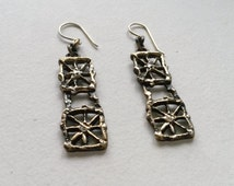 "Vintage Bronze ""Pitsi"" Hook Earrings, Pentti Sarpaneva, Finland, 1970s (F207)"