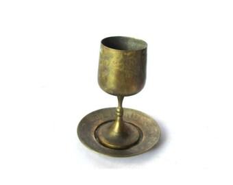 Jewish gift. Shabbat. kiddush. Goblet with saucer. Brass goblet. Kiddush cup. Judaica decor. Jewish israel. Judaica israel. Hebrew.