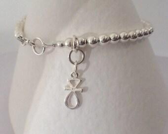 Sterling Silver Beaded Ankh Charm Bracelet,  Sterling Silver Ball Bracelet, Silver Ankh Jewelry, Gift for Her, Silver Bead Bracelet,