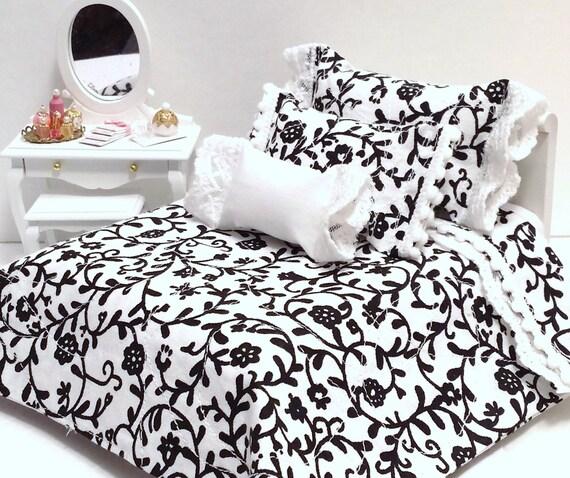 white black floral damask 4 piece dollhouse bedding set. Black Bedroom Furniture Sets. Home Design Ideas
