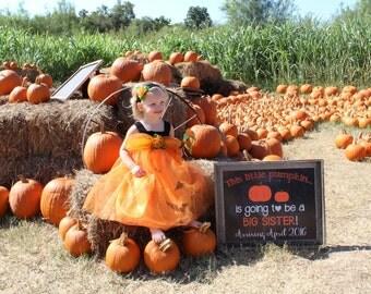 Chalkboard Halloween Pregnancy Reveal // Halloween Pregnancy Announcement // Big Sister Announcement