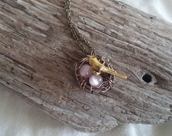 Brass Wire Wrapped Bird Nest Necklace with Pink Beads