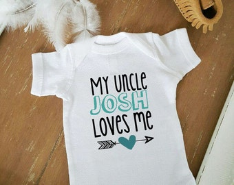 My Uncle Loves Me Boho Arrow CUSTOMIZE NAME and Heart Color Baby Neutral Bodysuit