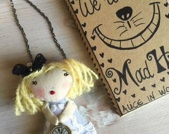 Alice in Wonderland 2 in 1 Doll Necklace & Brooch