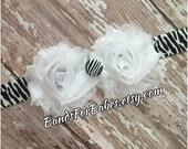 SALE Petite White & Black Zebra Print Flower Headband, Baby Headband, Toddler Headband, Girls Hair Bow, Zebra Print Accessory,  Animal Print