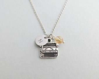 Typewriter Initial Necklace Personalized Hand Stamped - with Silver Typewriter Charm and Swarovski